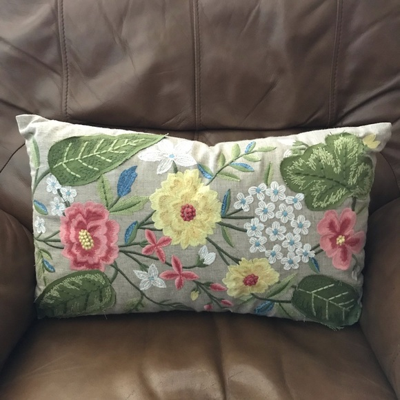 Pier 1 Other - Pier 1 Floral Embroidered Decorative Pillow